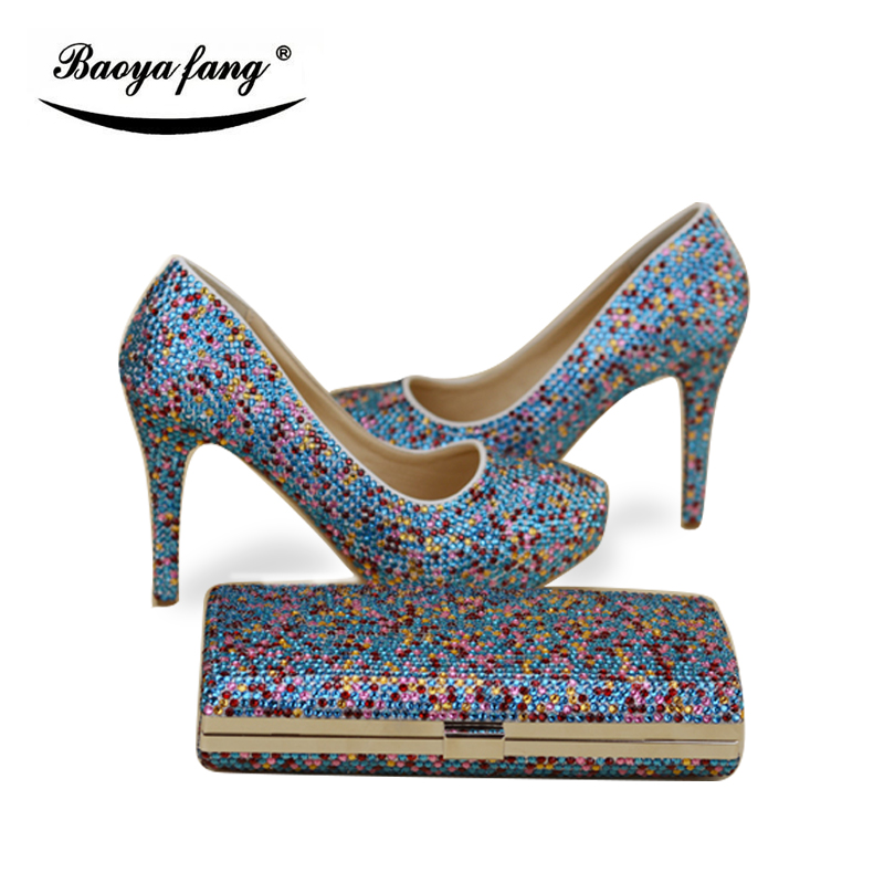 Multicolored Blue crystal Women wedding shoes with matching bags high heels platform shoes round toe woman high shoesMulticolored Blue crystal Women wedding shoes with matching bags high heels platform shoes round toe woman high shoes