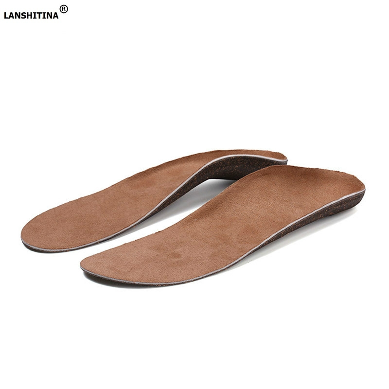 New Deodorant Shoe Pad Orthopedic Insole Flat Foot Arch Support Shock Absorption Breathable Cork Insoles Elastic Foot Pad Insert italy oak cork orthopedic insoles flat foot arch support anti slip breathable deodorant foot massage orthopedic shoe accessoires