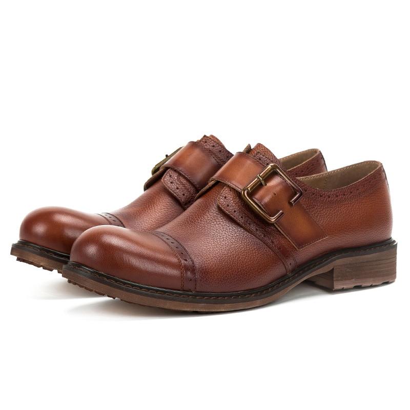Hecho Mycolen Hombres Zapatos Lujo Los Primavera Grande otoño La A Moda De Británica Mano Brown coffee Tallado Cuero Marca Cabeza Retro Hebilla OXxfOrq