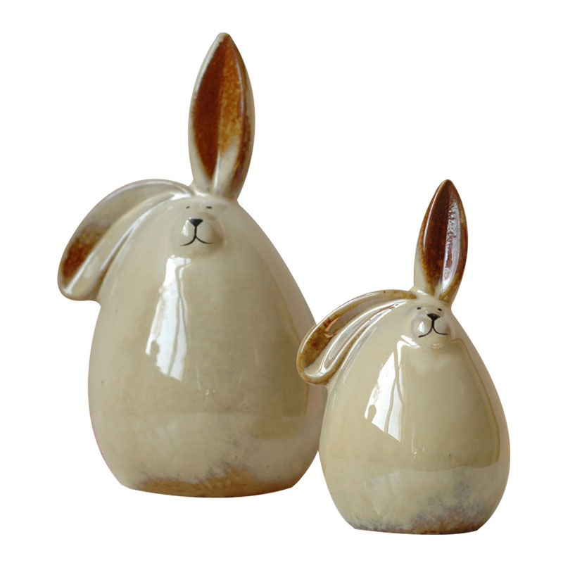 Europe Ceramic Couple Rabbit Piggy Bank Craft Figurine Bedroom Study Office Wedding Decorations Creative Student Gift Home Decor