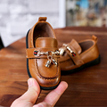 luxury baby shoes polish PU leather contrast stitch toddler shoe children moccasins hook&loop high-end quality infant 1~3 year