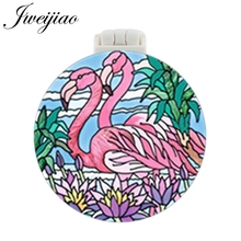 JWEIJIAO Flamingo Art Photo UV Printed Pocket Mirror With Massage Comb Mini Folding Compact Portable Makeup Hand Vanity Mirrors