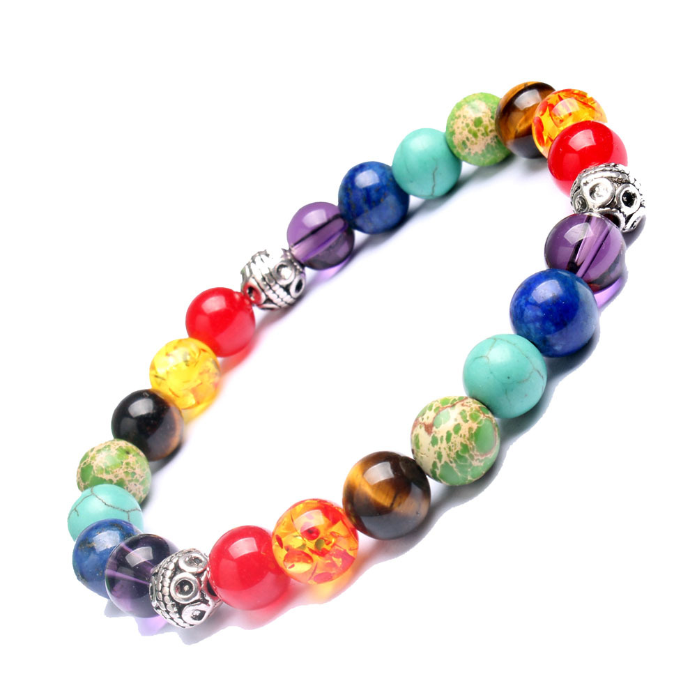 2016 Muti color Mens Bracelets Lava 7 Chakra Healing ...