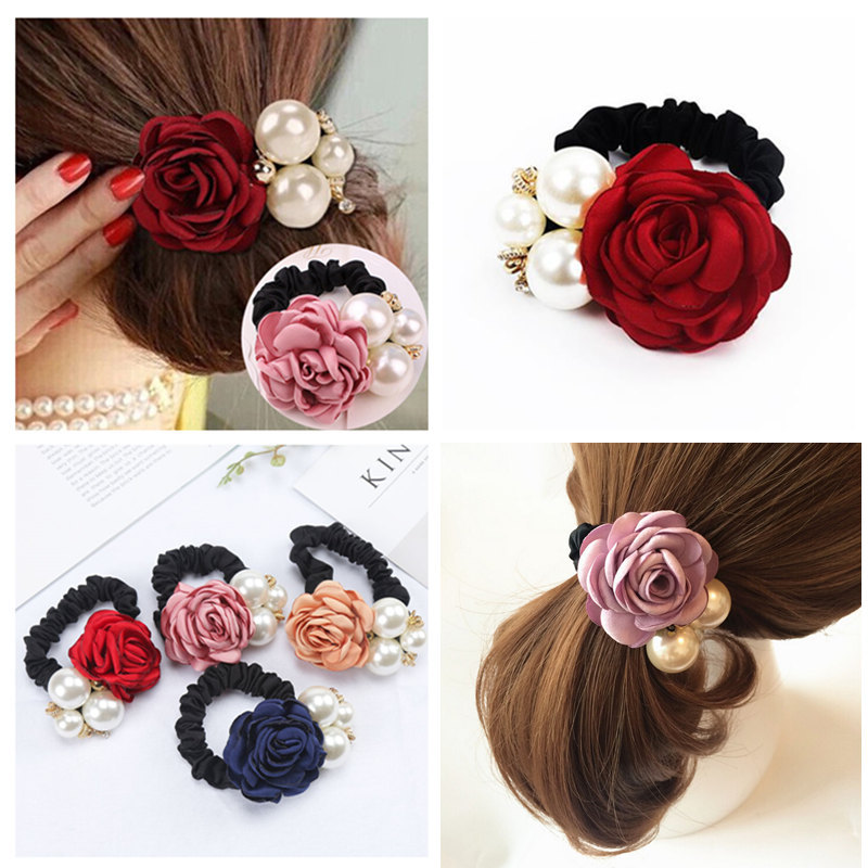 Fashion Women Rose Flower Hair Rope Elastic Hair Bands Big Flower Rhinestones Imitation Pearls Charms Rubber Hair Accessories