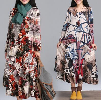 impresso tnica nacional estilo boho solto vestido de linho de algodo do vintage da moda vestido
