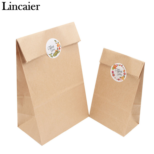 Lincaier 12pcs 24x13x8cm Kraft Paper Bag Handmade Bread Cookies Wedding Gift Bags For Biscuits Packaging Wring