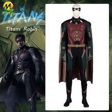 DC Film Titans Robin Cosplay Kostüm Nightwing Süper Kahraman Robin Cosplay Tam Takım Elbise Cadılar Bayramı Kostümleri Erkekler Için