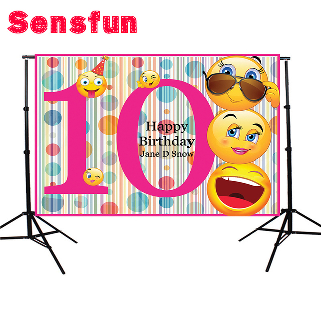 Vinyl Fabric 5x7FT 10th Birthday Emoji Banner Photography Backgrounds Studio Happy Personalized Party Backdrops