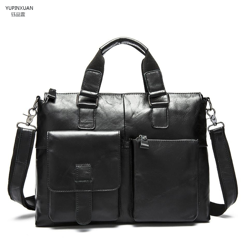 YUPINXUAN Stylish Genuine leather briefcase for Men Laptop messenger bags solid colors Crossbody bag High quality shoulder bag stylish women s crossbody bag with solid