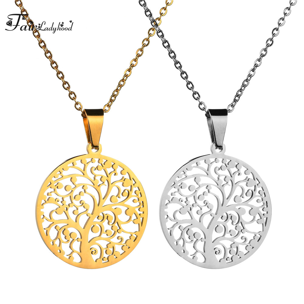 FairLadyHood 2018 New Sweater Chain Women Stainless Steel Gold Silver Color The Tree Of Life Pendant Necklace For Women Jewelry