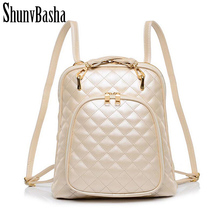 Plaid Rivet Black Women Backpack for Girls Multifunctional Fashion Leather School Backpack White School Bags for Women Backpack