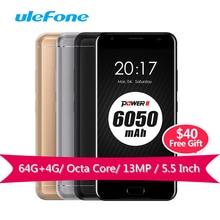 Ulefone Power 2 Smartphone MT6750T  Octa-Core 1.5GHz 64G ROM 4G RAM Andriod 7.0 4G LTE Mobile Phones 6050mAh 13MP Gorilla Glass