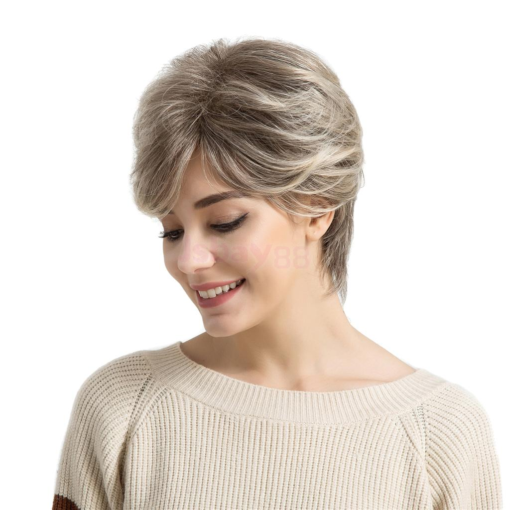 Fashion Natural Real Human Hair Wig Women Fluffy Short Straight Full Wigs bob hairstyle short capless fashion straight side bang real human hair wig for women