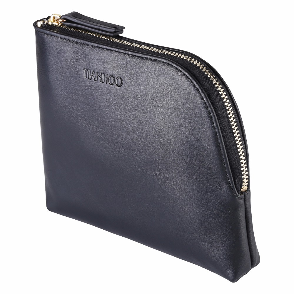Genuine Leather Women Makeup Bag Professional Cosmetic Cases Black Color Phone Pouch Fashion Lady Clutch Bag