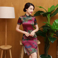 New Arrival Chinese Traditional Dress Vintage Design Short Cheongsam Silk Charming Evening Dresses Gambiered Chinese Dress Qipao