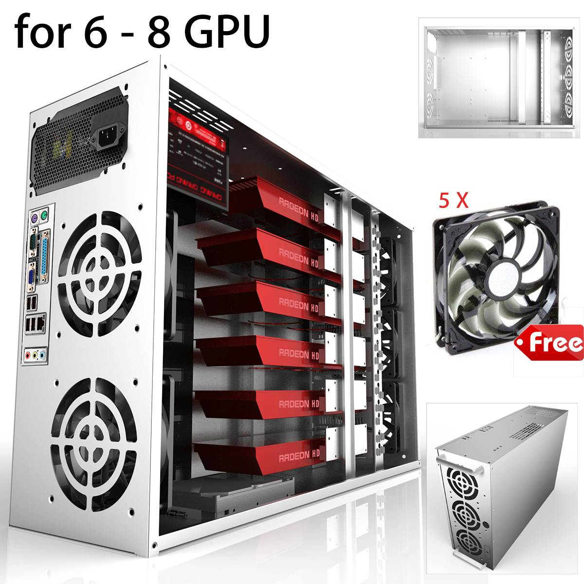 Crypto Coin Open Air Mining Frame Rig Graphics Case For 6-8 GPU ETH BTC + 5 Fans
