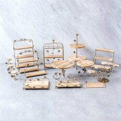 Bolo de madeira stands sobremesa bandeja pão baking shop expositor placas casamento festa em casa mesa decoração do queque de metal suporte