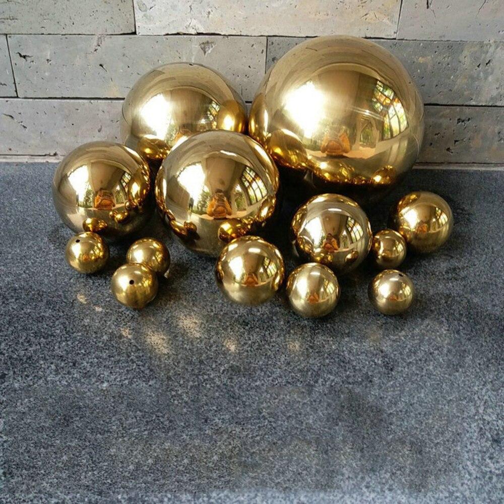 High Gloss Glitter Stainless Steel Titanium Gold Ball Sphere Mirror Hollow Ball Home Garden Decor Supplies Ornament 19mm~120mm 1