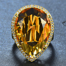 Luxury Male Female Big Crystal Zircon Stone Ring Yellow Gold Color Wedding Jewelry Promise Engagement Rings For Men Women meaeguet gold color luxury paved crystal engagement ring for women stainless steel big statement ring jewelry bague femme
