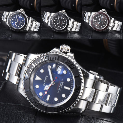 2018 Valentines gifts 41mm parnis Blue Black Brown Dial Sapphire Luminous Date 21 jewels miyota Automatic Mechanical men's Watch romantic sweet gifts 43mm parnis white dial luminous marks sapphire crystal 21 jewels miyota automatic mechanical men s watch