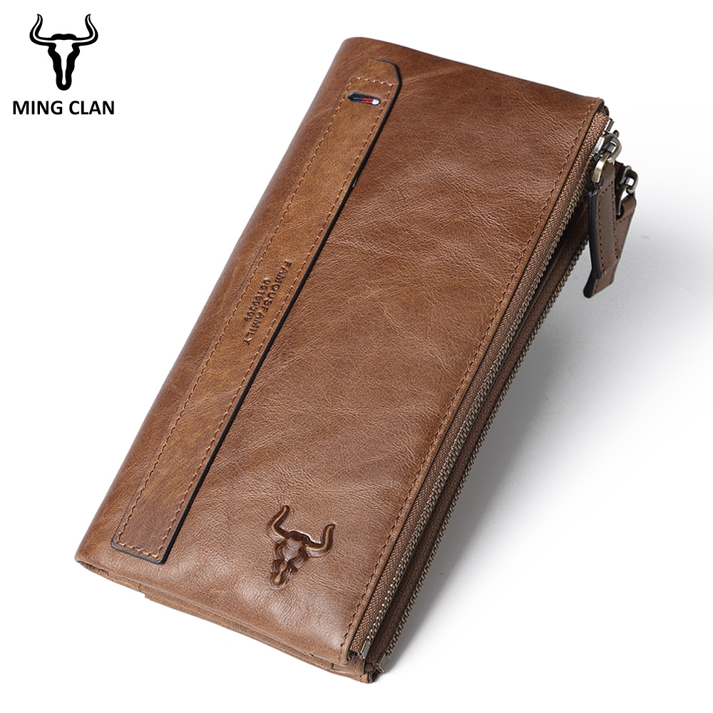 Mingclan Women's Purse Ladies Men Genuine Leather Long Wallets Money Bag Clutch Zipper Coin Wallet ID Card Holder Female Wallet