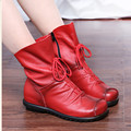 2017 Vintage Genuine Leather Women Boots Casual Ladies Martin Shoes Soft Cowhide Women's Shoes  Ankle Boots zapatos mujer