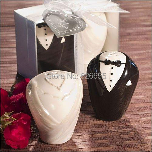 Free shipping BY FEDEX 200pcslot(100sets) Bride and Groom Wedding Salt and Pepper Shakers Popular model decorations