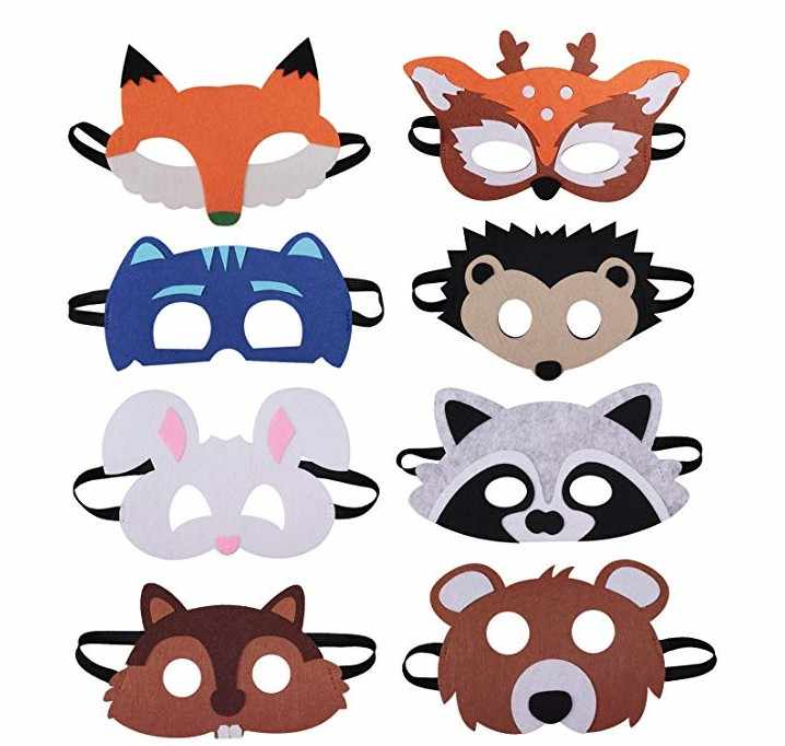 1Piece retail Forest Friends Felt Children Animal Mask for Birthday Party Favors Dress-Up Costume kids Cosplay Eye masks