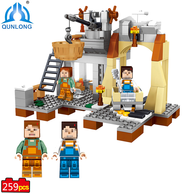 qunlong My World Yarresse Mine Building Blocks Compatible With Legoe Minecraft City Bricks Action Figures Toy For Boy  Girl Gift qunlong 0521 my world volcano mine building blocks toy compatible legoe minecraft building block city educational boys toy gift