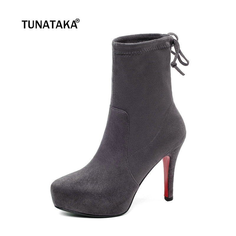 Women Suede Sexy Thin High Heel Ankle Boots Fashion Zipper Boots Ladies Platform Round Toe Fall Winter Shoes Black Gray ladies suede crystal thick high heel ankle boots fashion side zipper boots women round toe fall winter shoes black wine red
