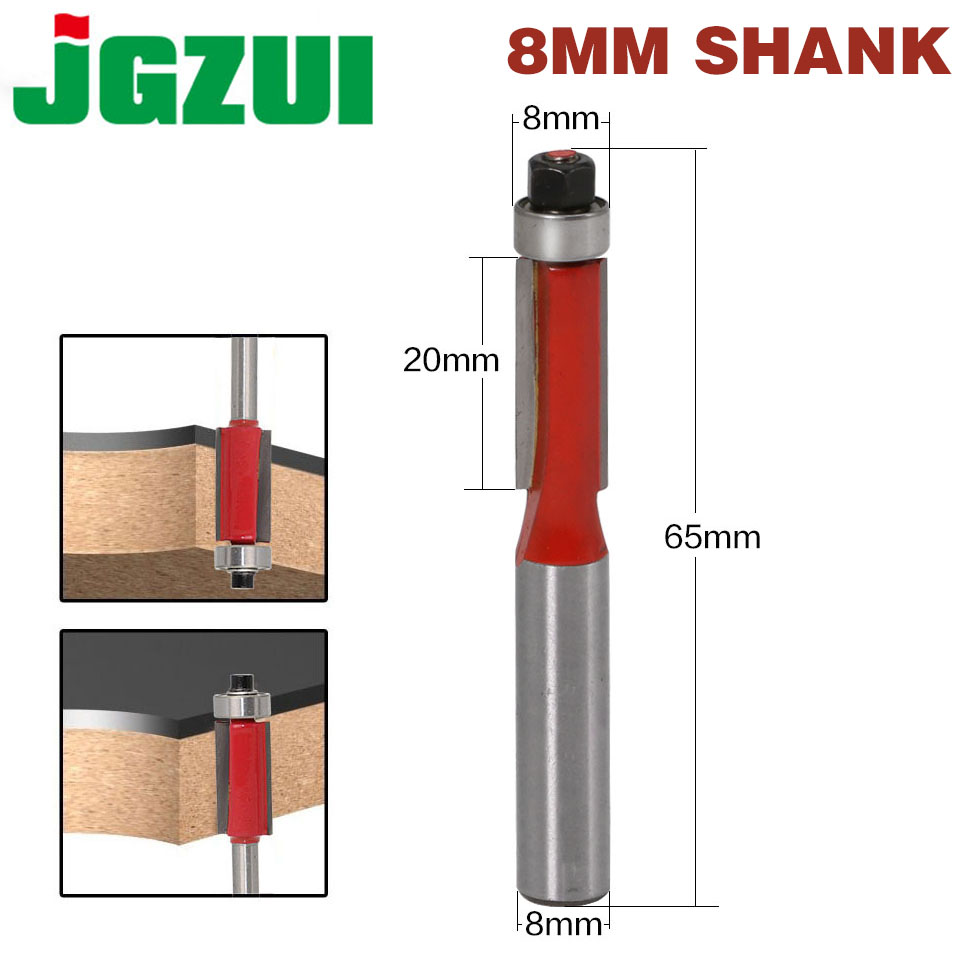 1Pc 8 SHANK Flush Trim Router Bit End Bearing For Woodworking Cutting Tool