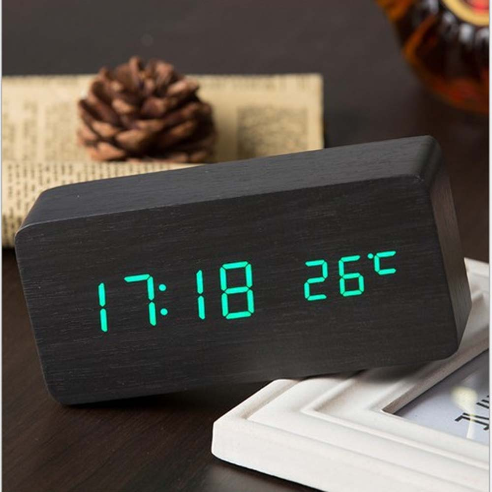 Home & Garden Obliging Led Alarm Clock Watch Table Voice Control Digital Wood Despertador Electronic Desktop Usb/aaa Powered Clocks Table Decoration Beautiful And Charming