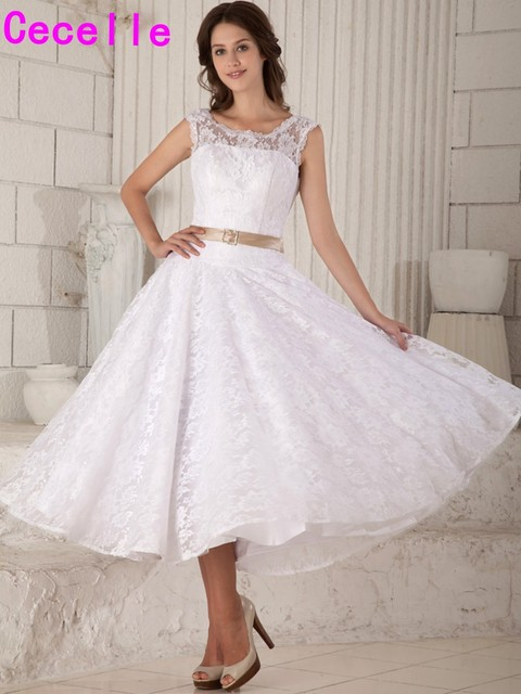 Vintage Tea Length Lace Wedding Dresses Sleeveless Short Jewel ...