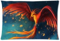 Pillowcase Pillow Cover Fantasy Phoenix Bird Zippered Pillow Protector 20x30 Inch One Side