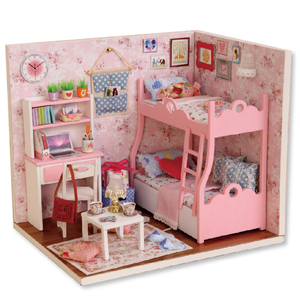 DIY Doll House With Furniture LED Light Miniature 3D Wooden Dollhouse Handmade Puzzle Toys Gift For Children H012 #E