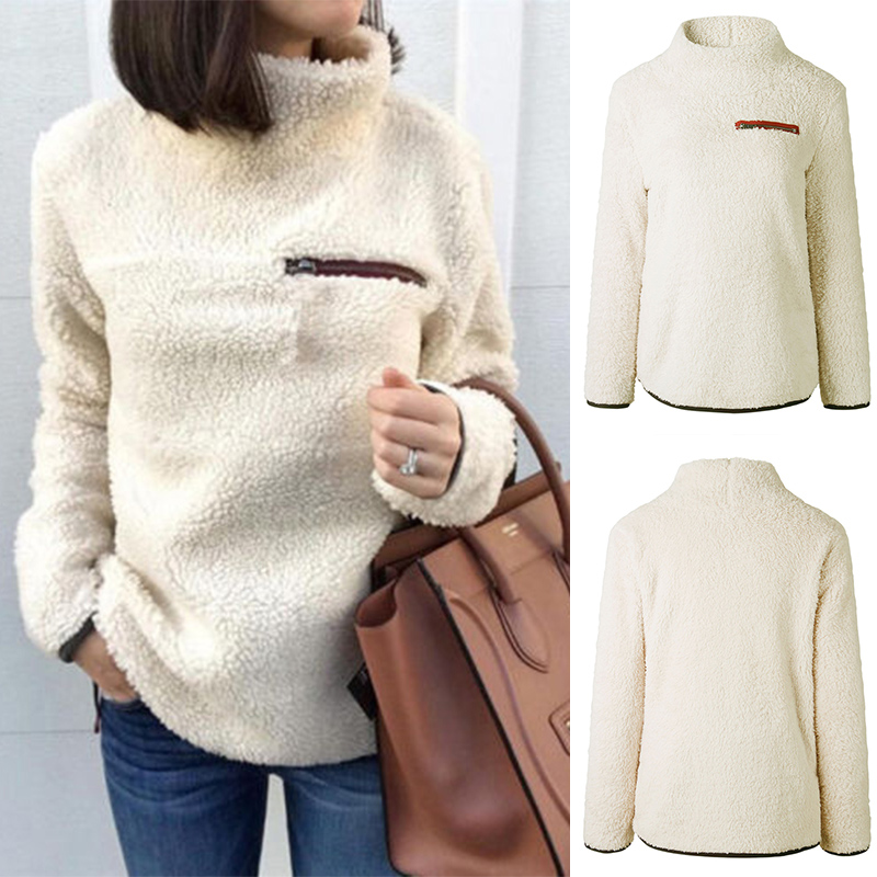 Womens Casual Fluffy Fleece Sweater 2018 Winter Warm Casual Long Sleeve Top Ladies High Neck Pullover Female Solid Zipper Jumper