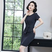 283c955b09cd74 HEBA Professional Striped Short Sleeved Dress Female Summer New OL Fashion  Temperament Slim Work Clothes