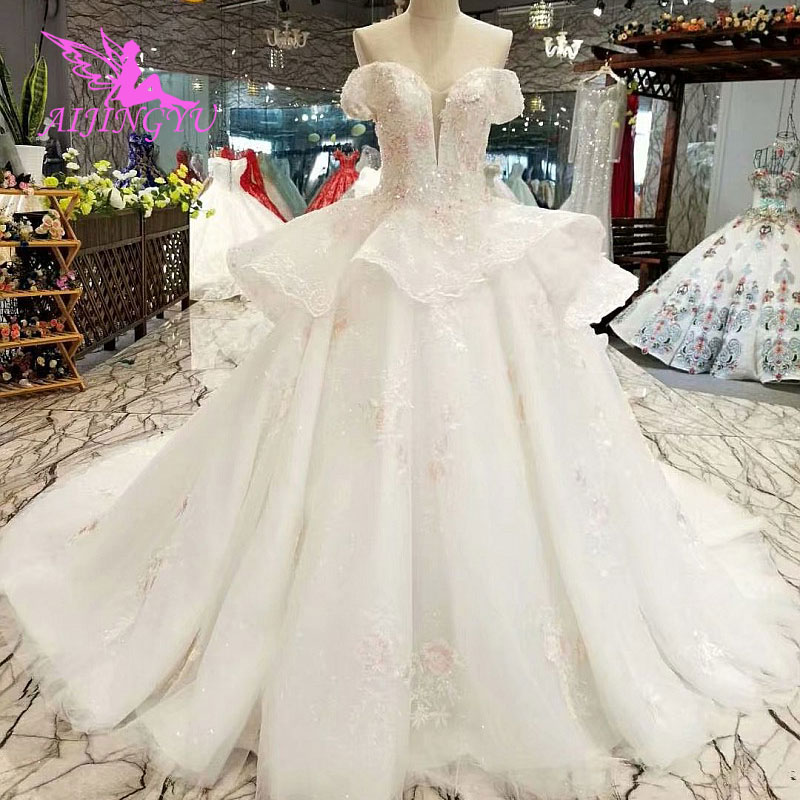 AIJINGYU Wedding Dress Finland Gowns Korea Price Wear Attire Vintage Bridals Made In China Gown Short Luxury Bridal Robes