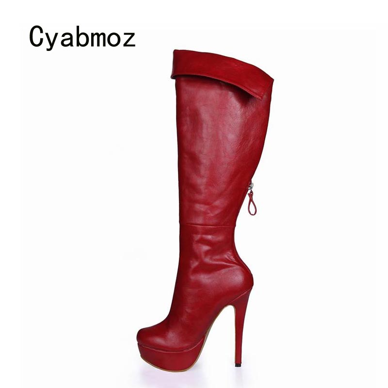 Hiver Robe Mujer Chaussures A forme Femme Zapatillas black Bottes red Haute B Plate Femmes Zip A Cyabmoz Dames Red Genou black De Zapatos red Mariage Botas Talons B Black w6CXxqR