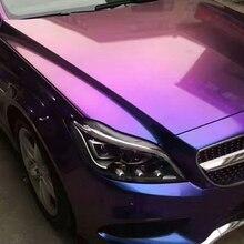 1,52X20 м воздушные пузыри глянцевый жемчуг-Хамелеон металлическая пленка глянцевая/natte Хамелеон блестящий автомобиль обертывание фиолетовый к красному