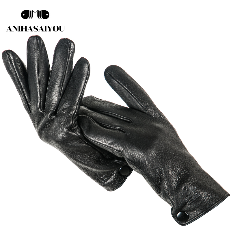 Buckskin Men's Winter Gloves,Simple Gloves Male,Durable Mens Leather Gloves, Winter Genuine Leather Gloves Men -740