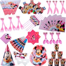 Disney Minnie Mouse Theme birthday party decorations kids disposable tableware baby shower girl birthday party supplies все цены