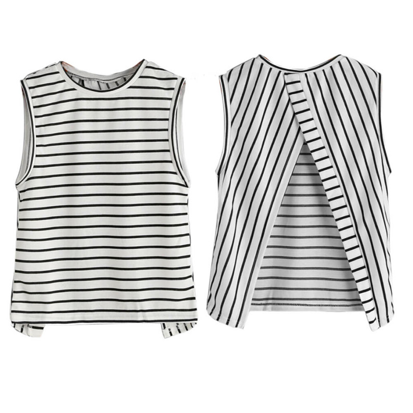 female T-shirt Womens Sexy Striped t-shirt women totoro Cotton Sleeveless Backless Tank T-Shirt Top 17612 p25