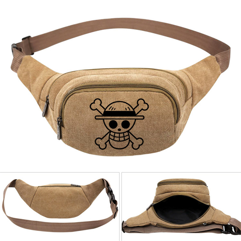 One Piece Anime Law Skull Men's Women Canvas Waist Pack Bag Pouch Belt Travel Hip Casual Fanny Bag Money Phone Belt Bag