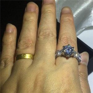 Image 5 - Choucong בציר פרח מבטיחים אצבע טבעת 925 סטרלינג כסף AAAAA cz אירוסין נישואים לנשים המפלגה תכשיטים