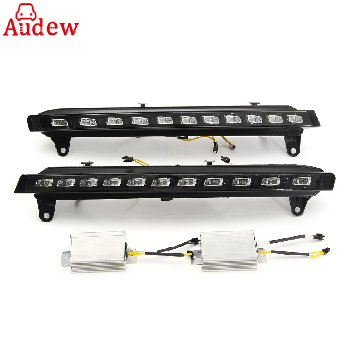 2Pcs DRL LED Daytime Running Lights Lamp Car Yellow Turn Signal Light Bar Fog Lights 12V For Audi Q7 2007 - 2009 Car Styling new auto car led daytime running lights drl yellow turn signal fog lamp for audi q7 2006 2007 2008 2009