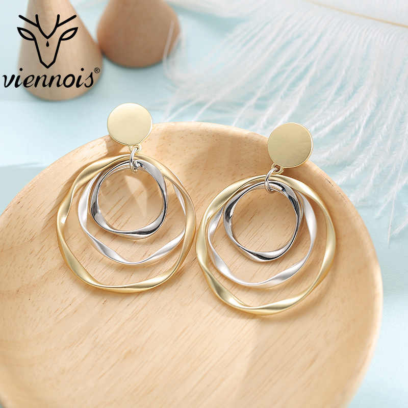 Viennois Multi-storey Round Earrings Gold Color Irregular Circle Dangle Earring for women Party Fashion Hot Sale Jewelry 2019