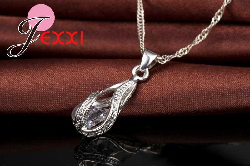 925 Sterling Silver Classic Romantic Drop Shape White Crystal Jewelry Sets Water Wave Necklace Pendant Hoop Earrings