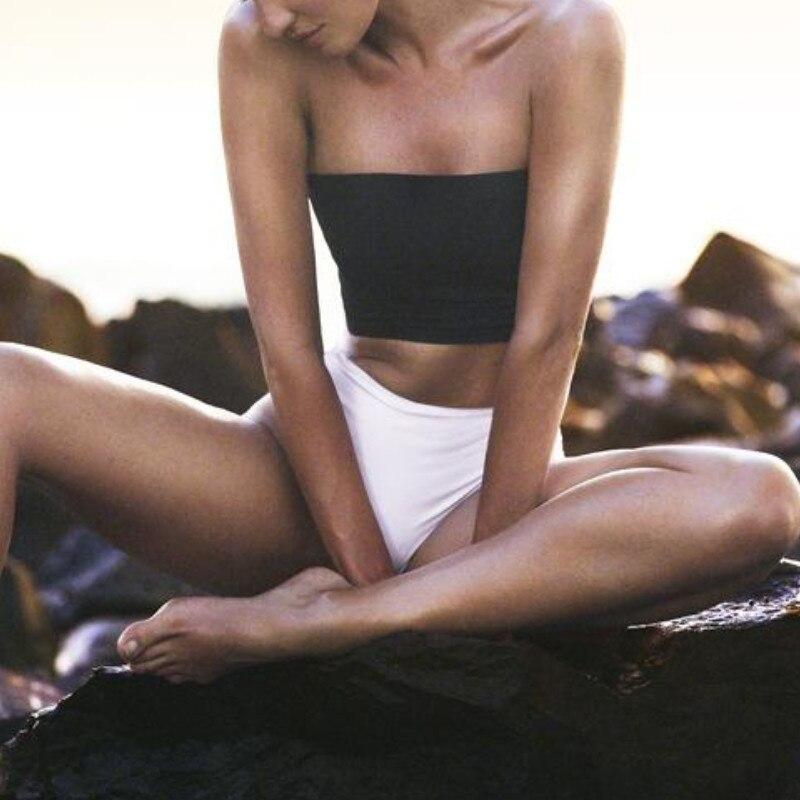 Women Bandeau Bikini 2019 Sexy Push Up Padded Ladies 2 Pieces Bathing Suit High Waist Swimsuit Swimwear Bikini Set White Black