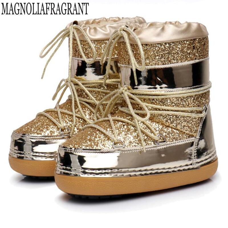 2018 nouvelle Neige bottes hiver cheville bottes femmes chaussures de Sécurité chaussures mode talons hiver bottes mode chaussures Paillettes espace bottes 8